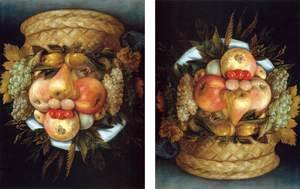 Giuseppe Arcimboldo - Reversible Head with Basket of Fruit