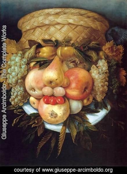 Giuseppe Arcimboldo - Reversible Head with Basket of Fruit 2